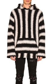 AMIRI Wool And Cashsmere Blend Striped Pullover Hoodie in Black