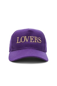 Amiri AMIRI LOVERS CANVAS TRUCKER HAT IN PURPLE & YELLOW