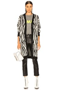 Amiri AMIRI ZEBRA LONG CARDIGAN IN ANIMAL PRINT,BLACK,WHITE