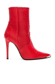Snakeskin-Embossed Leather Ankle Boots - Red Size 7.5