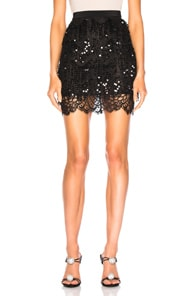Alessandra Rich ALESSANDRA RICH EMBELLISHED LACE MINI SKIRT IN BLACK.