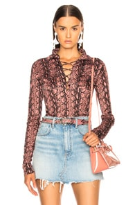 Alexachung Lace Up Shirt In Pink