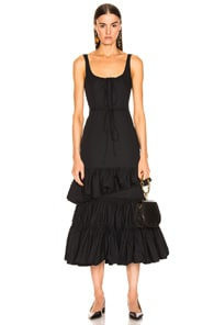Brock Collection  BROCK COLLECTION RUFFLE DRESS IN NAVY