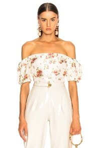 BROCK COLLECTION Boie Off-The-Shoulder Floral-Print Silk Blouse in Cream