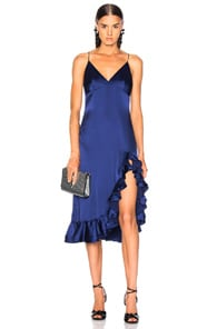 CAROLINE CONSTAS Elvira Silk Slip Dress in Blue