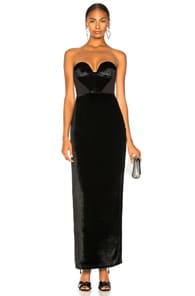 Carmen March CARMEN MARCH VELVET STRAPLESS GOWN IN BLACK