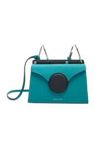 Phoebe Mini Color-Block Textured-Leather Shoulder Bag, Blue