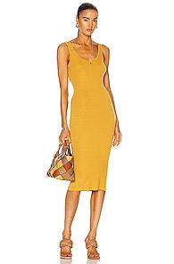 Enza Costa Silk Rib Tank Midi Dress In Golden