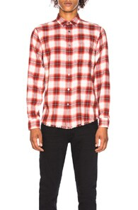 Distressed Checked Cotton-Flannel Shirt - Red in Henna Multi