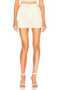 Linen Strip Shorts in Golden Haze Multi