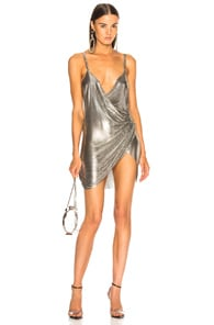 FANNIE SCHIAVONI Stainless Steel Mesh Dress in Metallic Silver