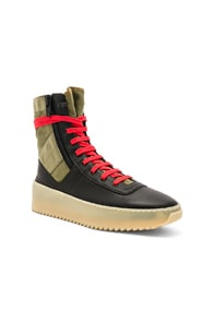 FEAR OF GOD Jungle Nylon & Leather Sneakers - Dk. Green Size 8 M in Black/Green