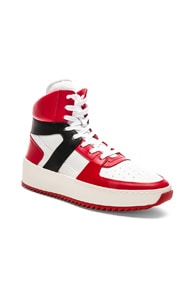 FEAR OF GOD Men'S Tricolor Leather High-Top Basketball Sneakers in Red