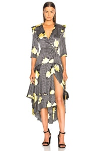 Calla Leopard-Print Stretch-Silk Wrap Dress, Black