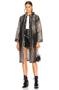 Cherry Blossom Leopard Print Raincoat in Neutrals
