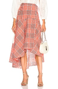 Charron Checked Cotton-Blend Seersucker Wrap Skirt, Red