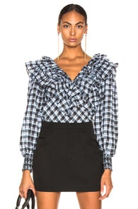 GANNI GANNI CHARRON TOP IN BLACK,BLUE,PLAID