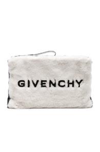 Givenchy Pouches Large Faux Fur GV3 Logo Pouch