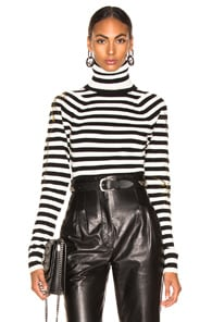 Haider Ackermann HAIDER ACKERMANN STRIPED TURTLENECK SWEATER IN INVIDIA BLACK & INVIDIA IVORY