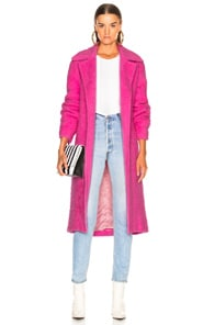 Helmut Lang Nappy Wool Coat In Disco Pink