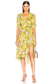 ICONS Ruffle Floral Wrap Dress - Yellow Size L