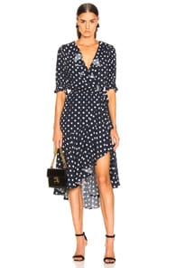 Icons ICONS OBJECTS OF DEVOTION CHA CHA WRAP DRESS IN POLKA DOT