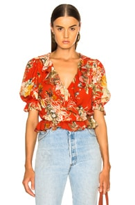 ICONS Ruffle Cha Cha Blouse in Red