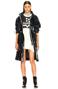 Ensel Coated Cotton-Blend Raincoat in Midnight Blue