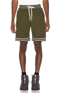 JOHN ELLIOTT Contrast-Trimmed Cotton-Blend Corduroy Shorts in Green