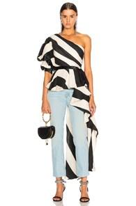 Asymmetric Striped Linen-Blend Top, Black