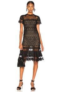 Guipure Lace Sheer Ruffle Dress, Black