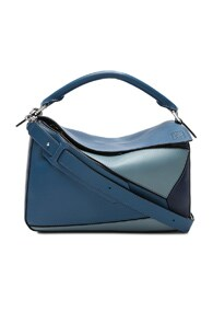 Puzzle Medium Leather Shoulder Bag, Blue
