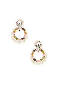 Lele Sadoughi Accessories LELE SADOUGHI DOUBLE RING HOOP EARRINGS IN BONE