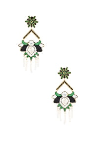 Mercedes Salazar MERCEDES SALAZAR FLOR DEL PARAMO EARRINGS IN BLACK  GREEN & WHITE