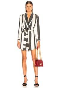 MICHELLE MASON Michelle Mason Wide Striped Elongated Jacket - Black
