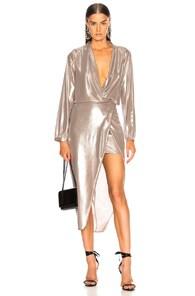 Michelle Mason MICHELLE MASON LONG SLEEVE WRAP DRESS IN OYSTER