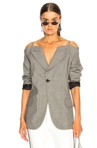 Maison Margiela Cold Shoulder Check Blazer In Black,Checkered & Plaid,Gray