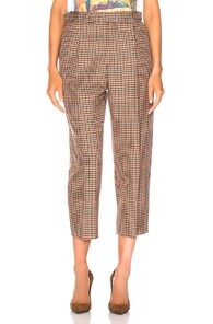 Monse MONSE PLEATED TROUSER PANT IN BROWN,NEUTRAL,PLAID.