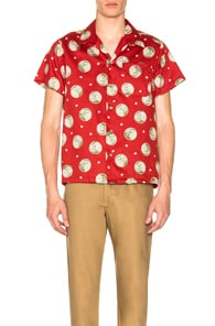 Naked And Famous NAKED & FAMOUS DENIM JAPANESE SPRINGTIME ALOHA SHIRT IN RED,FLORAL