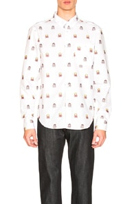 Naked And Famous NAKED & FAMOUS DENIM X STREET FIGHTER RYU & KEN JACQUARD SHIRT IN ABSTRACT,WHITE