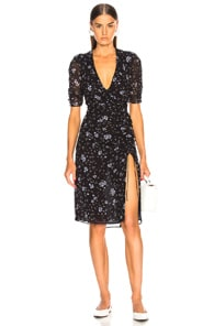 NICHOLAS Ditsy Floral Print Ruched Silk Dress in Blue