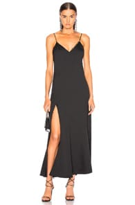 Nicholas NICHOLAS SATIN CREPE SLIP PANEL DRESS IN BLACK