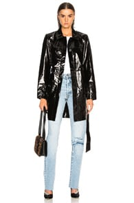 PALMER GIRLS X MISS SIXTY Patent Leather Menswear Short Trench Coat in Black