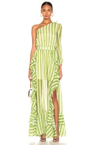 Patbo PATBO STRIPED ONE SHOULDER MAXI DRESS IN GREEN,STRIPES