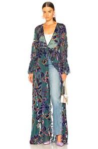 PATBO PATBO BURNOUT VELVET MAXI WRAP DRESS IN BLUE,FLORAL,PURPLE.