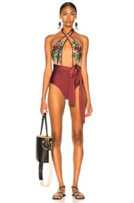 Patbo PATBO EMBROIDERED CROSS FRONT ONE PIECE IN PURPLE