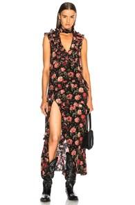 Floral Ruffle Silk Choker Dress, Metallic Silver