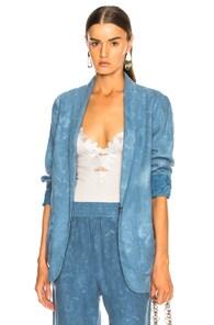Raquel Allegra Reversible Shawl Blazer In Blue