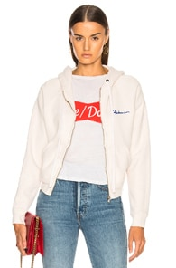 Embroidered Cotton-Terry Hoodie in White