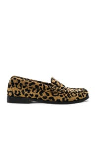 Leopard Print Fabric Flat Loafers , Brown,Animal Print